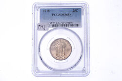 1918 25c Standing Liberty Quarter Pcgs Ms 65+ Graded Coin