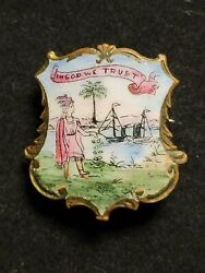 Antique Painted Pin Brooch Florida State Seal In God We Trust Estate Find