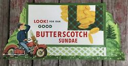 Vintage Butterscotch Sundae Ice Cream Advertising Sign Motorcycle Graphic Paper