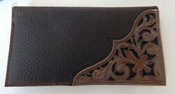 Ariat Mens Rodeo Leather Tooled Floral Cross Western Wallet One Size