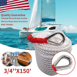 3/4x150and039 Twisted Anchor Rope Cord Three Strand Marine Boat Dock Mooring Line Us