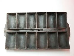 Cast Iron Divided Center ,french Bread Pan 12 Loafs Good Shape Free Shipping