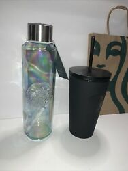 Starbucks Acrylic Cold Cup 16oz- Matte Black And Recycled Glass Water Bottle 22oz