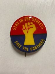 VINTAGE BLACK PANTHERS PIN STAY IN THE STREETS FREE THE PANTHERS