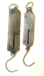 Set Of 2 Antique Brass And Cast Iron Hanging Spring Balance Milk Scales 24 Lbs