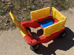 Todays Kids Vintage Ride On Pull Toy Red Yellow Wagon Htf Retired Removable Side