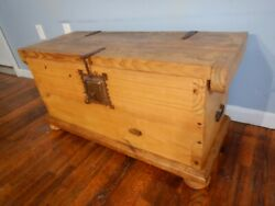 Vintage Pine Pirate Chest W Iron Lock And Key, Hinges, Handles Trunk Window Seat