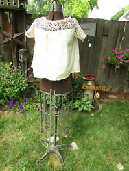 Vintage / Antique 1900and039s Cream Cotton Crocheted Camisole Top