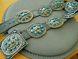 Heavy Old Southwestern Navajo Turquoise Cluster Sterling Silver Concho Belt 956g