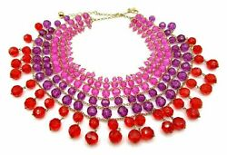 Kate Spade On The Avenue Necklace Nwt Amazing Ombre Faceted Crystals Red