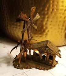 Decorative House With Windmill And Palm Tree Copper Figurine