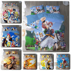 Fairy Tail 3pc 3d Bedding Quilt Cover Pillowcase Fit Twin Ful Queen King Soft