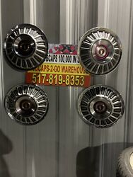 """1967-74 Ford Galaxie F100 Truck Hubcaps Set 4 Very Rare Beautiful 15"""" Red"""