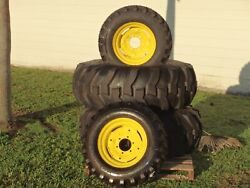 216.9-24 John Deere Titan Rear Tractor Tires And 2 10-16.5 Front Tires And Rims
