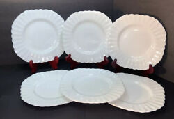 Vintage J And G Meakin England Square 7 Plates Classic White Fluted Set/6