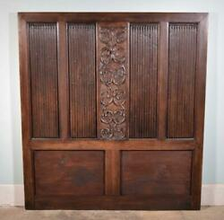 Antique French Highly Carved Panel In Oak Wood Salvage Headboard