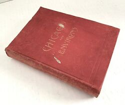 Antique 1891 Chicago And Environsdistrictsbook-fold-out Map-photos/illustrated