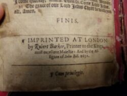 1631 King James Bible- Single Column New Testament- Darlow And Moule 349