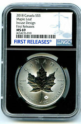 2018 5 Canada 1 Oz Silver Incuse Design Maple Leaf Ngc Ms69 First Release Retro