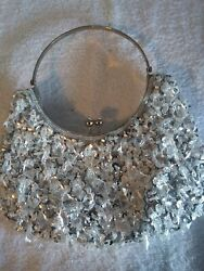 Small Kisslock Fancy Diamond Beads Sequin Silver Evening Prom Bag $25.00