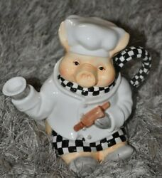 Teapot Chef Pig Decorative Collectible Hand Painted