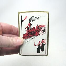 Vintage Vogue Playing Cards International Playing Card Co.train Mcm Art Deco Red