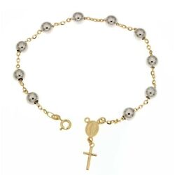 Yellow And White Gold 18 Kt 750/1000 With Shiny Spheres Rosary Bracelet