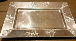 Mariposa Heavy Silver Tray 21x14 Vintage Handmade In Mexico 1980and039s