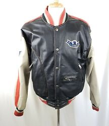Wilsons Leather Indian Chief Jacket Coat Snap Up Embroidered Leather Patches M