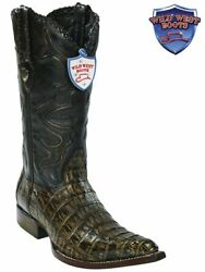 Menand039s Wild West Boots 2958285 Caiman Belly 3x Toe Rustic Brown
