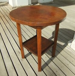 Arts And Crafts Movement Round Oak Side Table 817 Wolverine Chair Co.grand Rapids