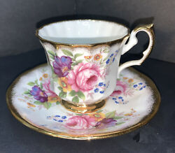 Elizabethan Tea Cup And Saucer Pink Roses Heavy Gold Trim Fine Bone China England
