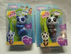Lot Of 2 Fingerlings Archie And Drew Glitter Pandas 40+ Sounds Interactive Pet New