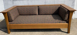 Stickley Arts And Craft Mission Oak Prairie Style Spindle Couch Sofa