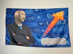 Stonks meme flag 3x5 feet for Man Cave Wall Room party funny dorm