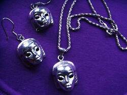 Vtg Art Deco Taxco Sterling Silver Egyptian Revival Cleopatra Necklace Earrings