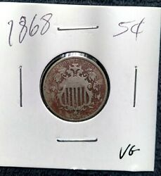 First Us Nickel - 1868 - Shield Nickel - Us Type Coin - Over 150 Years Old
