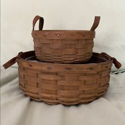 """Longaberger Round Button Basket Set - 10"""" And 7"""" Early 80's"""