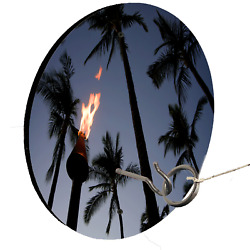 Beach Tree Tiki Torch Circle Board Shape Hook And Ring Toss Lawn Game
