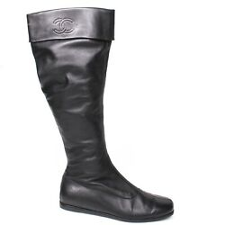 - Knee High Black Leather Boots - Pull On Cc Logo Cuff Zip Us 7.5 - 37.5