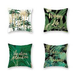 2xdecorative Pillowcases Green Leaves Throw Pillow Case Home Summer Style