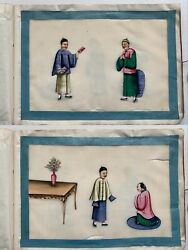 A Set Of 12 19th C Chinese Export Pith Rice Paper Paintings Album