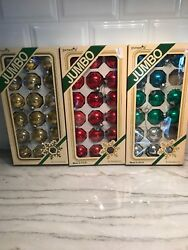 Pyramid Glass Christmas Ornaments - 1 3/4 -made In Usa 52 Balls 3 Boxes