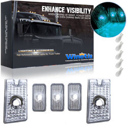 5pcs Clear Roof Cab Marker Cover W/ Ice Blue T10 Led Light For 03-09 Hummer H2
