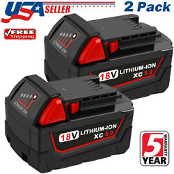 2 Pack For Milwaukee M18 Lithium Xc 5.0 Ah Extended Capacity Battery 48-11-1860