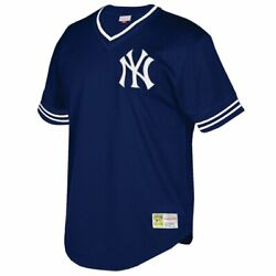 Mitchell And Ness New York Yankees Big And Tall Mesh V-neck Navy Blue White Jersey