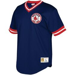 Mitchell And Ness Boston Red Sox Big And Tall Mesh V-neck Navy Blue Red White Jersey
