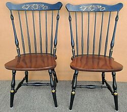 Vintage L Hitchcock Maple Baltic Harvest Windsor Side Chairs - A Pair