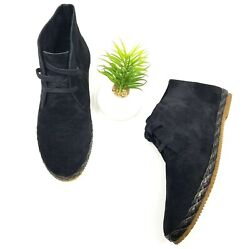 Aetrex Womens Addison Suede Ankle Chukka Boots Black Lace Up Flat Shoes Size 8.5