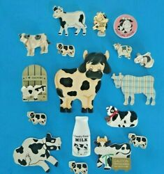 Cow Vintage Refrigerator Magnets Lot Of 17  Free Ship